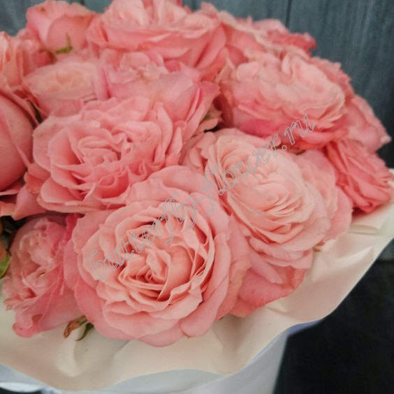 """Bouquet of 11 peony roses in a designer box """"Mademoiselle"""""""