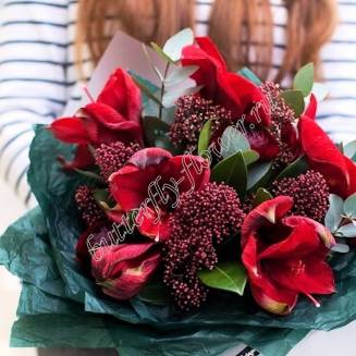 Corporate bouquet of 3 amaryllis and decorative gerbs in a package