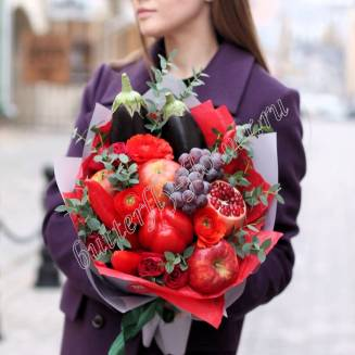 "Food bouquet of ranunculus, roses, vegetables and fruits ""Red November"""