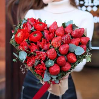 "Food bouquet of ranunculus, tulips and strawberries ""Burning heart"""