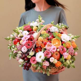 "Edible bouquet of peony roses, flowers, fruits and berries in basket ""Midsummer"""