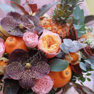 """Food bouquet of orchids, roses, fruits and herbs in designer box """"Autumn in the tropics"""""""