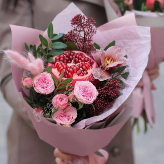 "Food bouquet of roses, orchids, pomegranate and decorative herbs ""Powder Rose"""