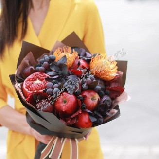 "Food bouquet of seasonal fruits and exotic flowers ""Autumn"""
