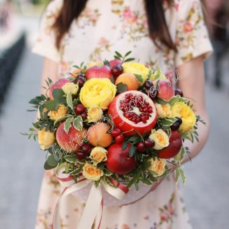 "Food bouquet of pomegranate, cherry, peaches, nectarine, bush and peony roses ""Ripe peach"""