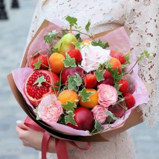 "Food bouquet of peony roses, fruits and berries ""Summer Garden"""