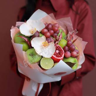 "Food bouquet of orchids, fruits and dekorative herbs ""Gardens of Babylon"""