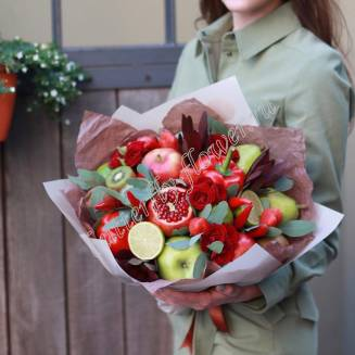 """Food bouquet of flowers, fruits and vegetables """"Silent happiness"""""""