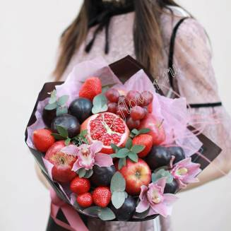 """Food bouquet of orchids, fruits and berries """"Plum wine"""""""