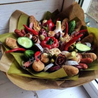 "Food meat bouquet of sausage, vegetables, bread and cheese ""For Man No.944"""