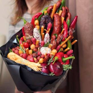 "Food meat bouquet of sausage, vegetables, bread and cheese ""For Man No.946"""