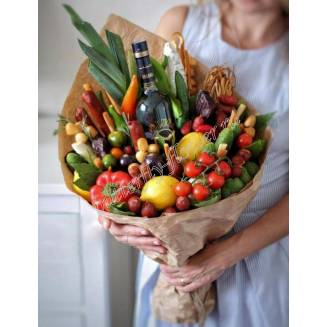 "Food meat bouquet of sausage, vegetables, cheese and alcohol ""For Man No.947"""