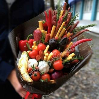"Food meat bouquet of sausage, vegetables and cheese ""For Man No.949"""