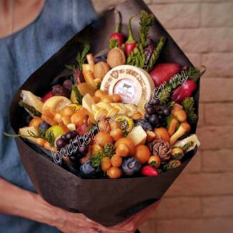 "Food bouquet of cheese, fruits, vegetables and nuts ""For Man No.954"""