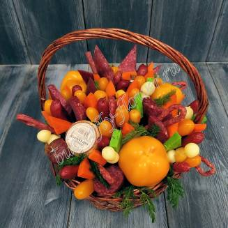"Food meat bouquet of sausage, vegetables and cheese in basket ""For Man No.955"""