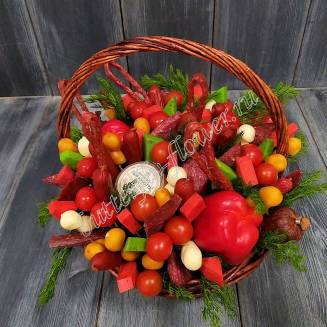 "Food meat bouquet of sausage, vegetables and cheese in basket ""For Man No.956"""