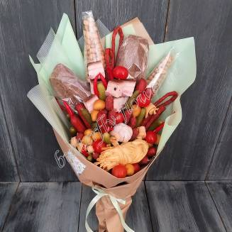 "Food meat a bouquet of sausages, cheese, vegetables, bread and nuts ""For Man No.957"""