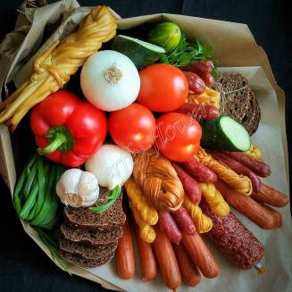 "Food meat bouquet of sausage, vegetables, bread and cheese ""For Man No.964"""