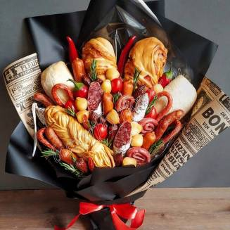 "Food meat bouquet of sausage, vegetables, bread and cheese ""For Man No.967"""