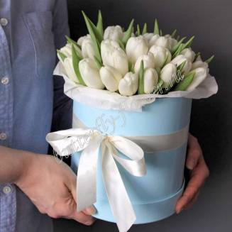 Bouquet of 25 white tulips in a designer box