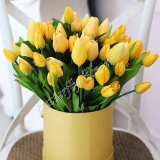 Bouquet of 51 yellow tulips in a designer box