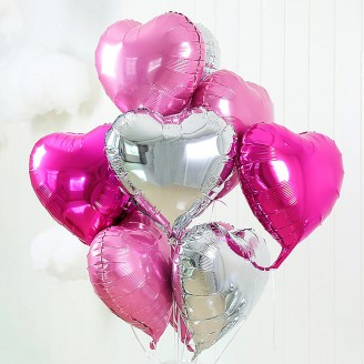 "Ball helium ""Heart"" silver-pink mix"