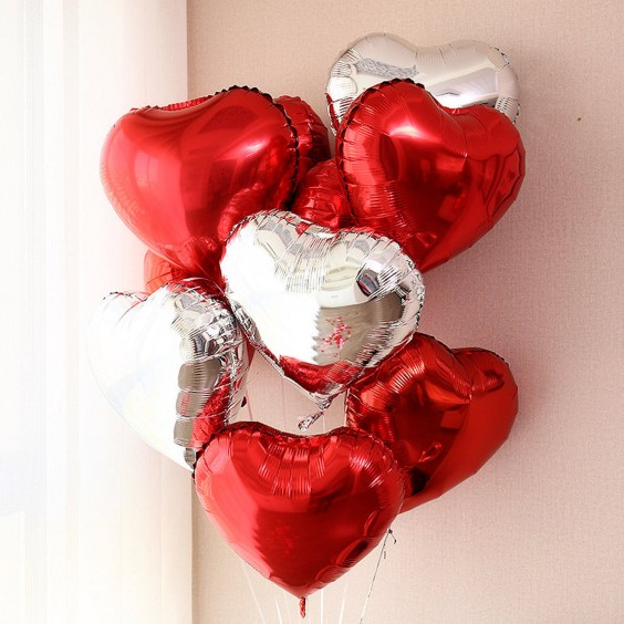 "Ball helium ""Heart"" silver-red mix"