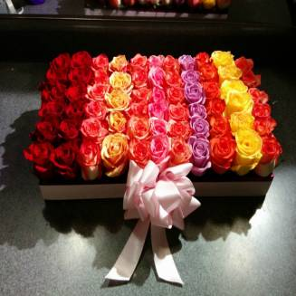 "65 multi-colored roses in a decorative box ""Rainbow"""