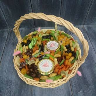"Bouquet of dried fruits, nuts and honey in the basket ""First sprouts"""