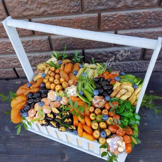"Bouquet of nuts and dried fruits in a wooden box ""Summer Day"""