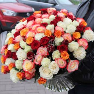 "Large bouquet of 101 multi-colored Russian roses 50cm ""For the beloved"""