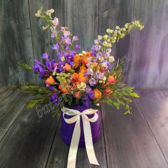 "Bouquet of delphinium and spray roses in design box ""Explosion of colors"""