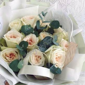 "Bouquet of 11 white peony roses with eucalyptus in the package ""Dear Friend"""