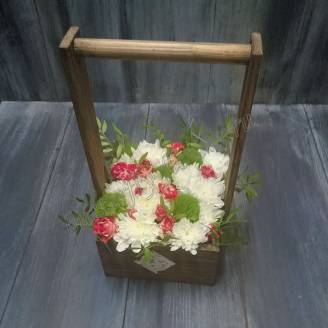 "Bouquet with flowers in wooden box ""Fairy bast basket"""