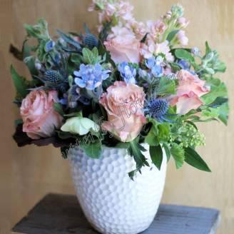 """Bouquet with matthiola, eringium and rose """"Painting"""""""