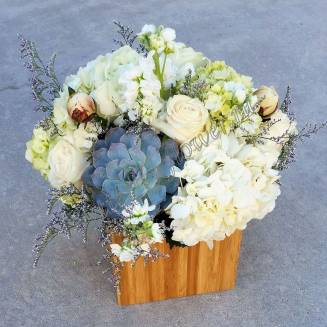 "Bouquet of peonies, hydrangeas and succulents in wooden box ""Stone Rose"""