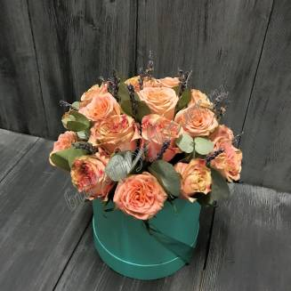 "Bouquet of peony roses and greenery in design box ""Belissimo"""