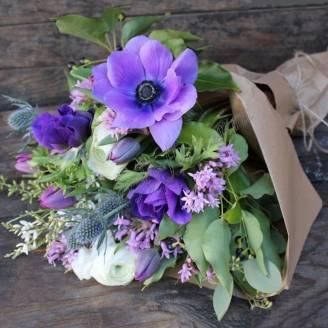 """Bouquet of seasonal flowers """"Spring Purple"""""""
