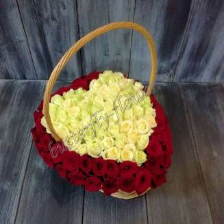 "Basket with white and red roses ""Big Heart"""