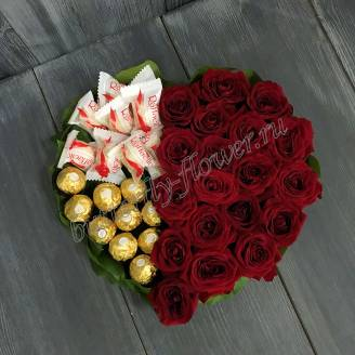 "Food bouquet of sweets and red roses in the form of a heart ""Sweet taste of love"""