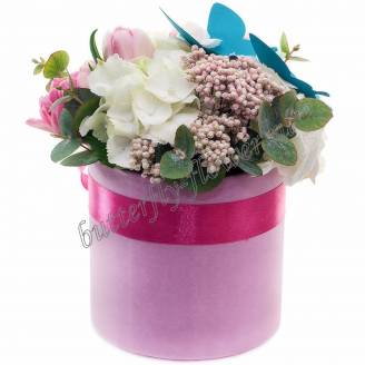 "Bouquet of flowers in decorative box ""Elegy"""