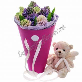 "Bouquet of multicolored hyacinths in a decorative box ""Mishkin Garden"""