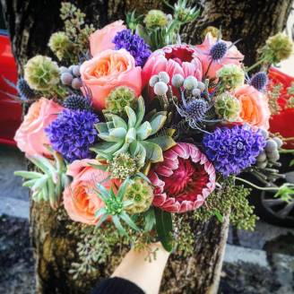 "Bouquet of peony roses, succulents and hyacinths ""Native"""