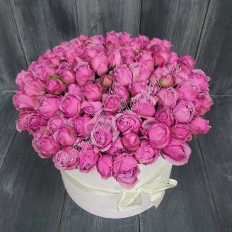 "Bouquet of 25 spray peony roses Misty Bubbles in a designer box ""Mysterious Lilac"""