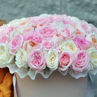 "Bouquet of 101 multi-colored peony roses in a hat box ""Pastel"""