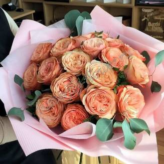 "Bouquet of 19 peony roses with eucalyptus in the package ""Sweet terracot"""