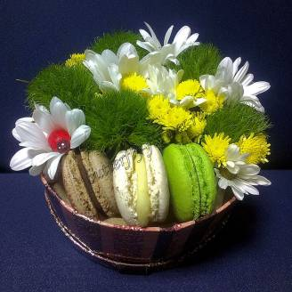 "Bouquet of chrysanthemums and dianthus in decorative box ""Sunny Glade"""