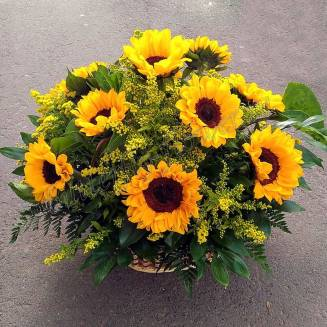 """Basket with sunflowers and solidago """"July morning"""""""