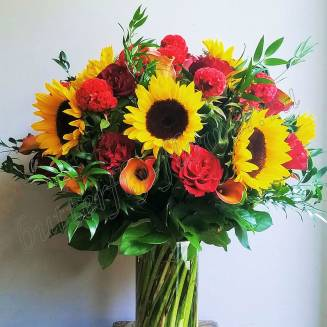 """Bouquet of roses, sunflowers and calla lilies """"Obsession"""""""