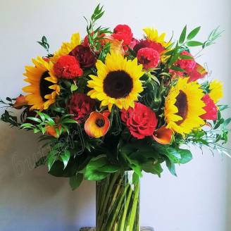 "Bouquet of roses, sunflowers and calla lilies ""Obsession"""